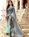 image of Office Wear Georgette Fabric Printed Saree In Grey