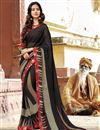 image of Black Office Wear Georgette Fabric Printed Saree
