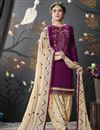 image of Purple Embroidered Cotton Silk Festive Wear Designer Patiala Suit