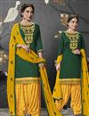 image of Dark Green Embroidered Festive Wear Designer Patiala Suit In Cotton Silk