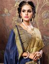 photo of Casual Party Style Navy Blue Weaving Work Saree In Cotton Silk Fabric
