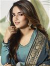 photo of Jasmin Bhasin Party Wear Satin Silk Cyan Palazzo Suit With Embroidery Work