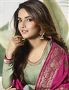 photo of Jasmin Bhasin Satin Silk Party Wear Sea Green Palazzo Suit With Embroidery Work
