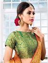 photo of Chic Orange Weaving Work Saree In Cotton Silk
