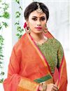 photo of Orange Chic Cotton Silk Saree With Weaving Work