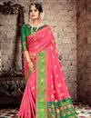 image of Cotton Silk Fabric Chic Pink Saree With Weaving Work