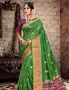 image of Green Chic Cotton Silk Fabric Saree With Weaving Work