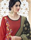 photo of Red Designer Embroidered Cotton Straight Cut Suit With Fancy Dupatta