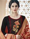 photo of Designer Black Cotton Embroidered Straight Cut Dress With Fancy Dupatta
