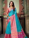 image of Classy Weaving Work Cotton Silk Fabric Sky Blue Saree