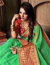 photo of Green Classy Cotton Silk Fabric Weaving Work Saree