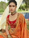 photo of Georgette Designer Function Wear Orange Fancy Embroidered Saree