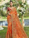 image of Georgette Designer Function Wear Orange Fancy Embroidered Saree