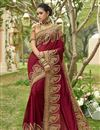 image of Maroon Embellished Designer Wedding Wear Art Silk Fancy Saree