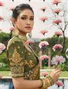 photo of Designer Function Wear Mehendi Green Fancy Embroidered Saree In Georgette