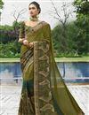 image of Designer Function Wear Mehendi Green Fancy Embroidered Saree In Georgette