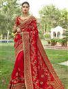 image of Embellished Designer Wedding Wear Georgette Fancy Saree In Red