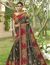 image of Designer Function Wear Grey Color Art Silk Fancy Embroidered Saree
