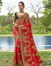 image of Embellished Designer Wedding Wear Red Georgette Fancy Saree