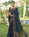 image of Navy Blue Designer Function Wear Chiffon Fancy Embroidered Saree