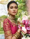 photo of Satin Silk Embellished Designer Wedding Wear Dark Pink Fancy Saree