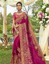 image of Satin Silk Embellished Designer Wedding Wear Dark Pink Fancy Saree