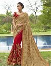image of Designer Function Wear Art Silk And Net Fancy Embroidered Saree In Red