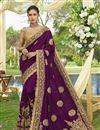 image of Embellished Designer Wedding Wear Purple Fancy Saree In Art Silk