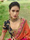 photo of Designer Function Wear Art Silk Orange Fancy Embroidered Saree