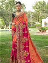 image of Designer Function Wear Art Silk Orange Fancy Embroidered Saree