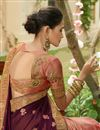 photo of Embellished Designer Wedding Wear Art Silk And Georgette Peach Fancy Saree