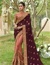 image of Embellished Designer Wedding Wear Art Silk And Georgette Peach Fancy Saree