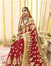 photo of Georgette Fabric Red Embroidered Wedding Function Wear Saree