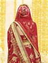 photo of Georgette Fabric Wedding Function Wear Embroidered Saree In Red