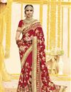 image of Georgette Fabric Red Embroidered Wedding Function Wear Saree