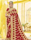 image of Wedding Function Wear Red Embroidered Saree In Georgette Fabric