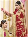 photo of Red Wedding Function Wear Georgette Fabric Embroidered Saree