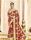 image of Red Wedding Function Wear Georgette Fabric Embroidered Saree