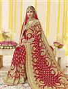 photo of Wedding Function Wear Red Georgette Fabric Embroidered Saree