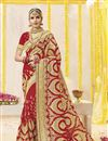 image of Wedding Function Wear Red Georgette Fabric Embroidered Saree