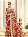 image of Red Georgette Fabric Embroidered Wedding Function Wear Saree