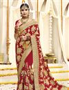 image of Red Wedding Function Wear Embroidered Saree In Georgette Fabric