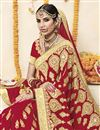 photo of Red Embroidered Georgette Fabric Wedding Function Wear Saree