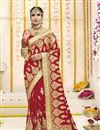 image of Red Embroidered Georgette Fabric Wedding Function Wear Saree