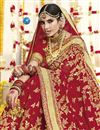 photo of Georgette Fabric Wedding Function Wear Red Embroidered Saree