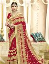 image of Wedding Function Wear Georgette Fabric Red Embroidered Saree