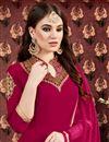 photo of Georgette Fabric Designer Embroidered Anarkali Salwar Kameez In Dark Pink