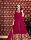 image of Georgette Fabric Designer Embroidered Anarkali Salwar Kameez In Dark Pink