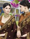 photo of Brown Color Art Silk Fancy Embroidered Party Style Saree
