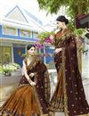 image of Brown Color Art Silk Fancy Embroidered Party Style Saree